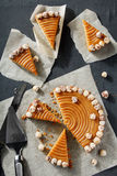 Homemade pie with nuts and caramel Royalty Free Stock Image