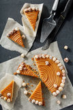 Homemade pie with nuts and caramel Royalty Free Stock Images