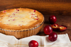 Homemade pie with plum Royalty Free Stock Photos
