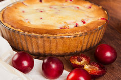 Homemade pie with plum Royalty Free Stock Images
