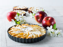 Homemade pie with red apples close up Stock Photos