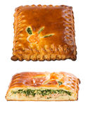 Homemade pie with salmon and spinach on a white. Royalty Free Stock Photo