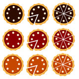 Homemade pie set with different fruit filling. Royalty Free Stock Photos