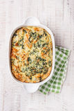 Homemade pie with spinach, cheese and filo pastry Stock Photography
