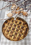 Homemade pie on squared napkin Royalty Free Stock Photography