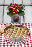 Homemade pie on squared red napkin Stock Photo