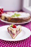 Homemade pie with strawberries and sugar Royalty Free Stock Image