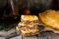 Homemade pie stuffed with beef Royalty Free Stock Photo