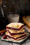 Homemade pie stuffed with cherries Stock Photos