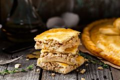 Homemade pie stuffed with chicken ang eggs Royalty Free Stock Photos