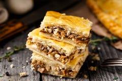 Homemade pie stuffed with mushrooms Royalty Free Stock Image