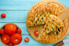 Homemade pie stuffed with vegetables and cheese Royalty Free Stock Photo