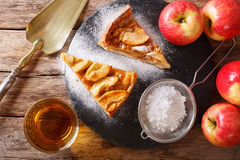 Homemade piece of apple pie with powdered sugar close-up on a ta Royalty Free Stock Photos