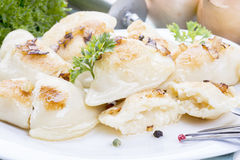 Homemade pierogi dumplings Royalty Free Stock Photo