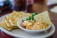 Homemade Pimento Cheese and Crackers Stock Photo