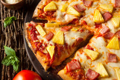 Homemade Pineapple and Ham Hawaiian Pizza Stock Images
