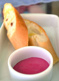 Homemade pink jam with bread Royalty Free Stock Images