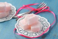 Homemade pink marshmallows selective focus Royalty Free Stock Photos