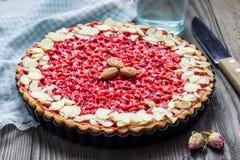 Homemade pink praline tart Stock Photo