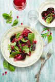 Homemade pink ravioli tortellini with goat cheese decorated beet leaves, beetroot slices and cranberry Royalty Free Stock Photography