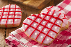 Homemade Pink Valentine's Day Cookies Stock Images