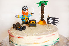 Homemade pirate rainbow cake for kid birthday Royalty Free Stock Photo