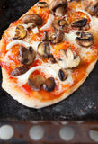Homemade pita with tomato and mushroom filling on top Royalty Free Stock Images