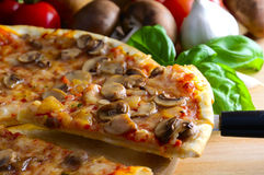 Homemade pizza. Slice of traditional homemade italian pizza royalty free stock photo