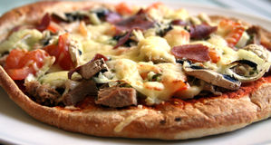 Homemade pizza. Pizza withtuna and mushrooms and garlic and tomatos and onions royalty free stock photography