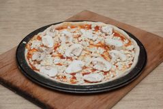 Homemade Pizza Cooking Process on Wooden Board. Process Step by Step. Pizza dough with tomatoe Pasta, Chesse and Stock Photo