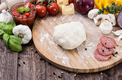 Homemade pizza dough Stock Images