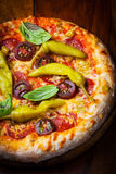 Homemade pizza with dried tomatoes and hot peppers stock image