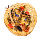 Homemade pizza with edible flowers Royalty Free Stock Photography