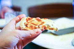 Homemade pizza with fresh tomato olive mushroom cheese . Stock Images