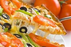 Homemade pizza fresh tomato olive mushroom cheese Stock Photo
