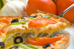Homemade pizza fresh tomato olive mushroom cheese Royalty Free Stock Photos