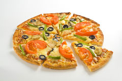Homemade pizza fresh tomato olive mushroom cheese Royalty Free Stock Images