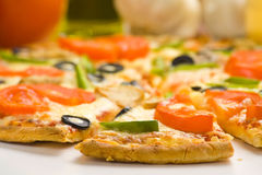 Homemade pizza fresh tomato olive mushroom cheese Royalty Free Stock Image