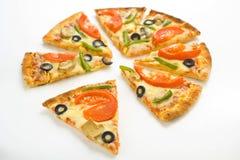 Homemade pizza fresh tomato olive mushroom cheese Stock Image