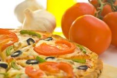 Homemade pizza fresh tomato olive mushroom cheese Royalty Free Stock Photos
