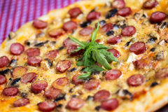 Homemade Pizza with hunter sausages Royalty Free Stock Images