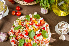 Homemade pizza made from fresh vegetables Royalty Free Stock Photo