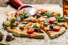 Homemade pizza with mushrooms Stock Photo