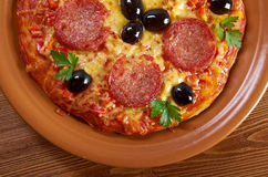 Homemade pizza  Pepperoni. Royalty Free Stock Image