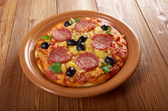 Homemade pizza  Pepperoni. Royalty Free Stock Images