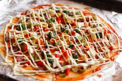 Homemade pizza prepare for cooking.  Stock Photography