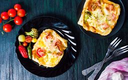 Homemade pizza sandwiches on a plate Royalty Free Stock Photo