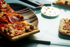Homemade Pizza Slices stock image