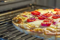 Homemade pizza. With tomatoes and red onions in the oven Royalty Free Stock Image