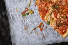 Homemade pizza on a wooden table Stock Image